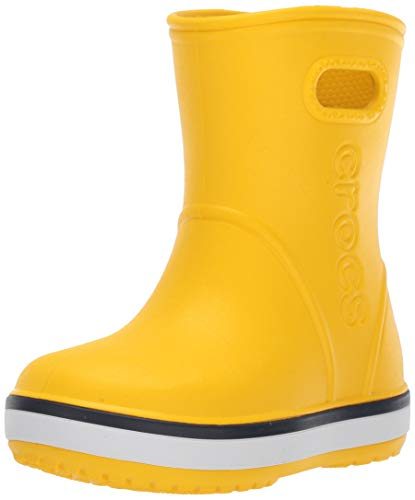Crocs Crocband Rain Boot Kids, Botas de Agua Unisex Niños, Amarillo (Yellow/Navy 734), 27/28 EU
