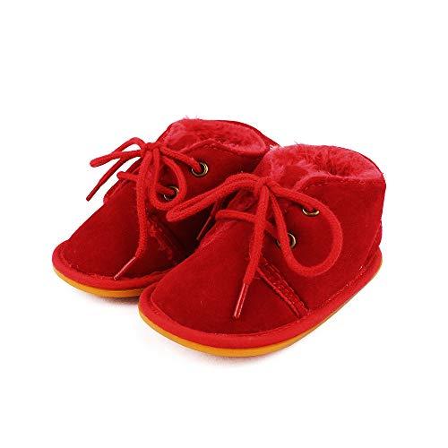 LACOFIA Botas de Invierno de Suela de Goma para bebés niños niñas Zapatillas de Deporte con Cordones para bebé Rojo 6-12 Meses