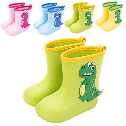 Botas de Agua Niña Niño Impermeable y Antideslizante Botas Para Lluvia 24/25 verde